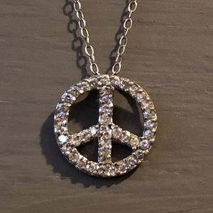 Peace Sign Necklace Sterling Silver 925 CZ